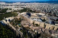 Εναέρια άποψη Parthenon και της ακρόπολη στην Αθήνα Στοκ εικόνα με δικαίωμα ελεύθερης χρήσης