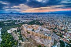 Εναέρια άποψη Parthenon και της ακρόπολη στην Αθήνα Στοκ Φωτογραφία