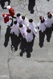 Εναέρια άποψη penitents σε μια πομπή της ιερής εβδομάδας την Κυριακή φοινικών Στοκ Φωτογραφία