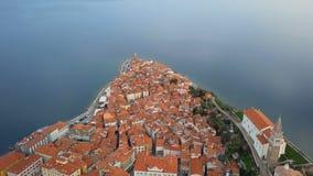 Εναέρια άποψη Piran, Σλοβενία απόθεμα βίντεο