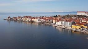 Εναέρια άποψη Piran, Σλοβενία φιλμ μικρού μήκους