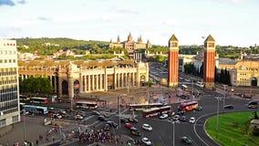 Εναέρια άποψη Placa δ ` Espanya, ορόσημο στη Βαρκελώνη, Καταλωνία, Ισπανία απόθεμα βίντεο