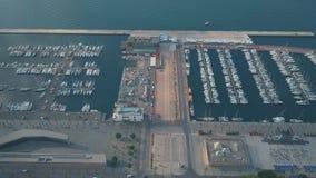 Εναέρια άποψη sailboats στη μαρίνα στην Καρχηδόνα, Ισπανία απόθεμα βίντεο