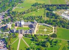 Εναέρια άποψη Windsor Castle και οργάνωση για το βασιλικό γάμο του πρίγκηπα Harry και Meghan Markle Στοκ Φωτογραφία