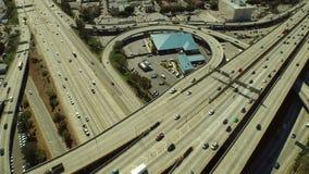 Εναέρια ανταλλαγή αυτοκινητόδρομων του Λος Άντζελες απόθεμα βίντεο