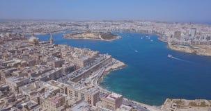 Εναέρια αρχαία πρωτεύουσα άποψης πανοράματος Valletta απόθεμα βίντεο