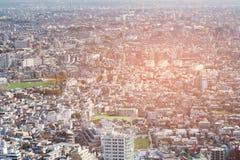 Εναέρια εικονική παράσταση πόλης πλήθους του Τόκιο άποψης κεντρικός Στοκ Φωτογραφία
