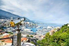Εναέρια εικονική παράσταση πόλης άποψης πριγκηπάτων του Μονακό Μόντε Κάρλο. Κυανή ακτή. Γαλλία Στοκ εικόνα με δικαίωμα ελεύθερης χρήσης