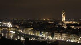 Εναέρια εικονική παράσταση πόλης νύχτας της Φλωρεντίας timelapse απόθεμα βίντεο