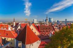 Εναέρια εικονική παράσταση πόλης του Ταλίν, Εσθονία στοκ εικόνες
