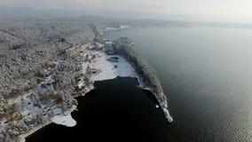 Εναέρια επαρχία άποψης στη χειμερινά λίμνη και το δάσος απόθεμα βίντεο