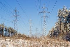 Εναέρια ηλεκτροφόρα καλώδια ενάντια στον ουρανό σκηνικού και το χειμερινό δάσος Στοκ Εικόνες