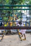 Εναέρια καθαρή διάβαση πεζών σχοινιών στο playpark Στοκ Φωτογραφία