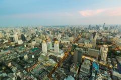 Εναέρια κεντρική επιχείρηση πόλεων άποψης κεντρικός στη Μπανγκόκ Ταϊλάνδη Στοκ Φωτογραφίες