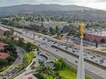 Εναέρια κορυφή άποψης του ναού του Σαν Ντιέγκο Καλιφόρνια στοκ φωτογραφία