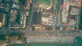 Εναέρια κορυφή κάτω από την άποψη ενός εργοτάξιου οικοδομής στη Ζυρίχη, Ελβετία στοκ εικόνα με δικαίωμα ελεύθερης χρήσης