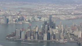 εναέρια νέα όψη Υόρκη πόλεων απόθεμα βίντεο