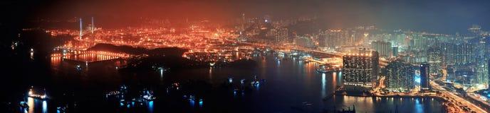 Εναέρια νύχτα του Χογκ Κογκ Στοκ Εικόνες