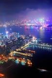 Εναέρια νύχτα του Χογκ Κογκ Στοκ Φωτογραφία