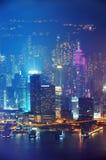 Εναέρια νύχτα του Χογκ Κογκ Στοκ Εικόνα