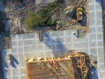 Εναέρια ξύλινη οικοδόμηση κτηρίου σπιτιών εμπορική στοκ εικόνα