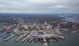 εναέρια οικοδόμησης πόλεων υποστηριγμένη κράτος κορυφαία όψη Υόρκη φωτογραφιών αυτοκρατοριών νέα Στοκ Εικόνες