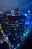 εναέρια οικοδόμησης πόλεων υποστηριγμένη κράτος κορυφαία όψη Υόρκη φωτογραφιών αυτοκρατοριών νέα manhattan midtown night skyline Στοκ εικόνες με δικαίωμα ελεύθερης χρήσης