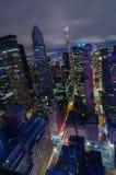 εναέρια οικοδόμησης πόλεων υποστηριγμένη κράτος κορυφαία όψη Υόρκη φωτογραφιών αυτοκρατοριών νέα manhattan midtown night skyline Στοκ Φωτογραφία