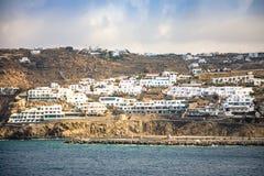 Εναέρια πανοραμική άποψη νησιών της Μυκόνου, μέρος των Κυκλάδων, Ελλάδα στοκ εικόνες