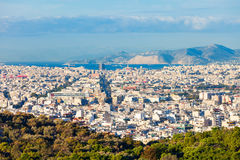 Εναέρια πανοραμική άποψη της Αθήνας Στοκ εικόνες με δικαίωμα ελεύθερης χρήσης