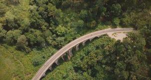 Εναέρια πανοραμική τοπ άποψη, κηφήνας που γυρίζει αριστερά πάνω από τη γέφυρα Ella εννέα αψίδων στη Σρι Λάνκα μεταξύ των εξωτικών απόθεμα βίντεο