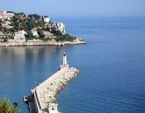 Εναέρια προοπτική της θάλασσας, του φάρου και της Νίκαιας από το απόρριμμα Στοκ φωτογραφία με δικαίωμα ελεύθερης χρήσης