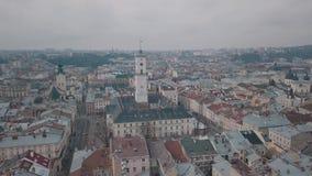 Εναέρια πόλη Lviv, Ουκρανία Ευρωπαϊκή πόλη Δημοφιλείς περιοχές της πόλης Ratush φιλμ μικρού μήκους