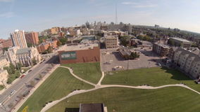 Εναέρια πόλη του Ντιτρόιτ απόθεμα βίντεο