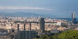 εναέρια της Βαρκελώνης barceloneta εικονικής παράστασης πόλης colom όψη οδών του Columbus column de district passeig σωστή Στοκ εικόνα με δικαίωμα ελεύθερης χρήσης