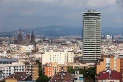 εναέρια της Βαρκελώνης barceloneta εικονικής παράστασης πόλης colom όψη οδών του Columbus column de district passeig σωστή Στοκ Εικόνα