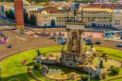 Εναέρια τοπ άποψη της Βαρκελώνης, Καταλωνία, Ισπανία Placa δ ` Espanya, Plaza de Espana, το ισπανικό τετράγωνο Στοκ φωτογραφίες με δικαίωμα ελεύθερης χρήσης