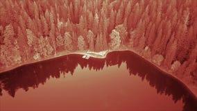 Εναέρια τοπ άποψη της λίμνης Υπέρυθρο φίλτρο απόθεμα βίντεο