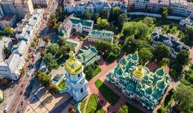 Εναέρια τοπ άποψη του καθεδρικού ναού του ST Sophia και του ορίζοντα πόλεων του Κίεβου άνωθεν, εικονική παράσταση πόλης Kyiv, Ουκ Στοκ φωτογραφία με δικαίωμα ελεύθερης χρήσης