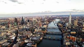 Εναέρια φωτογραφία άποψης των νέων ουρανοξυστών στο Λονδίνο Στοκ φωτογραφία με δικαίωμα ελεύθερης χρήσης