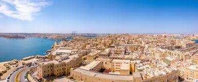 Εναέρια φωτογραφία ανατολής πανοράματος - αρχαία πρωτεύουσα Valletta Στοκ Εικόνα