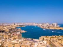 Εναέρια φωτογραφία ανατολής πανοράματος - αρχαία πρωτεύουσα Valletta Στοκ Φωτογραφία