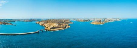 Εναέρια φωτογραφία ανατολής πανοράματος - αρχαία πρωτεύουσα Valletta Στοκ Φωτογραφίες