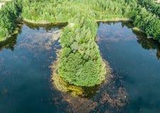 Εναέρια φωτογραφία ενός νησιού στη λίμνη, από το μέτωπο και από το α Στοκ φωτογραφία με δικαίωμα ελεύθερης χρήσης