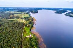 Εναέρια φωτογραφία λιμνών και επαρχίας της Λιθουανίας Στοκ εικόνα με δικαίωμα ελεύθερης χρήσης