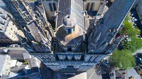 Εναέρια φωτογραφία του καθεδρικού ναού Αγίου Maurice στη Angers Στοκ Φωτογραφία