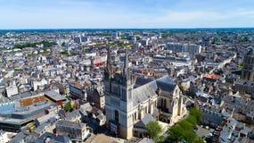 Εναέρια φωτογραφία του καθεδρικού ναού Αγίου Maurice στη Angers Στοκ φωτογραφία με δικαίωμα ελεύθερης χρήσης