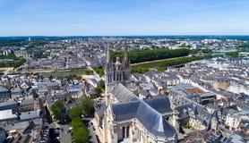 Εναέρια φωτογραφία του καθεδρικού ναού Αγίου Maurice στη Angers Στοκ Εικόνα