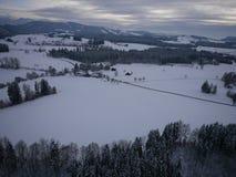 Εναέρια φωτογραφία του χειμερινού τοπίου Στοκ Φωτογραφίες