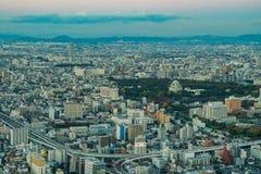 εναέρια όψη ουρανοξυστών περιοχών της Ιαπωνίας Νάγκουα πόλεων chubu Εναέρια άποψη με το SK Στοκ Φωτογραφίες